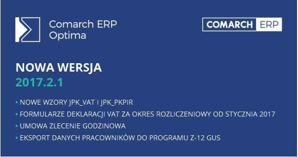 Nowa wersja Comarch ERP Optima 2017.2.1