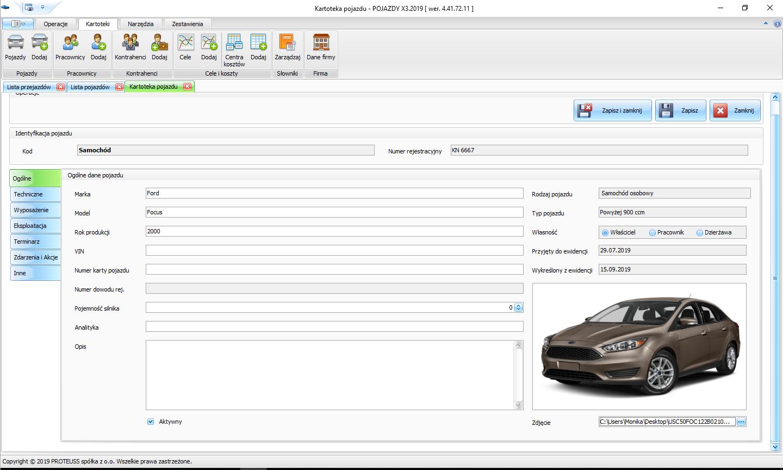 ewidencja przejazdów kilometrówka zrzut ekranu programu Pojazdy
